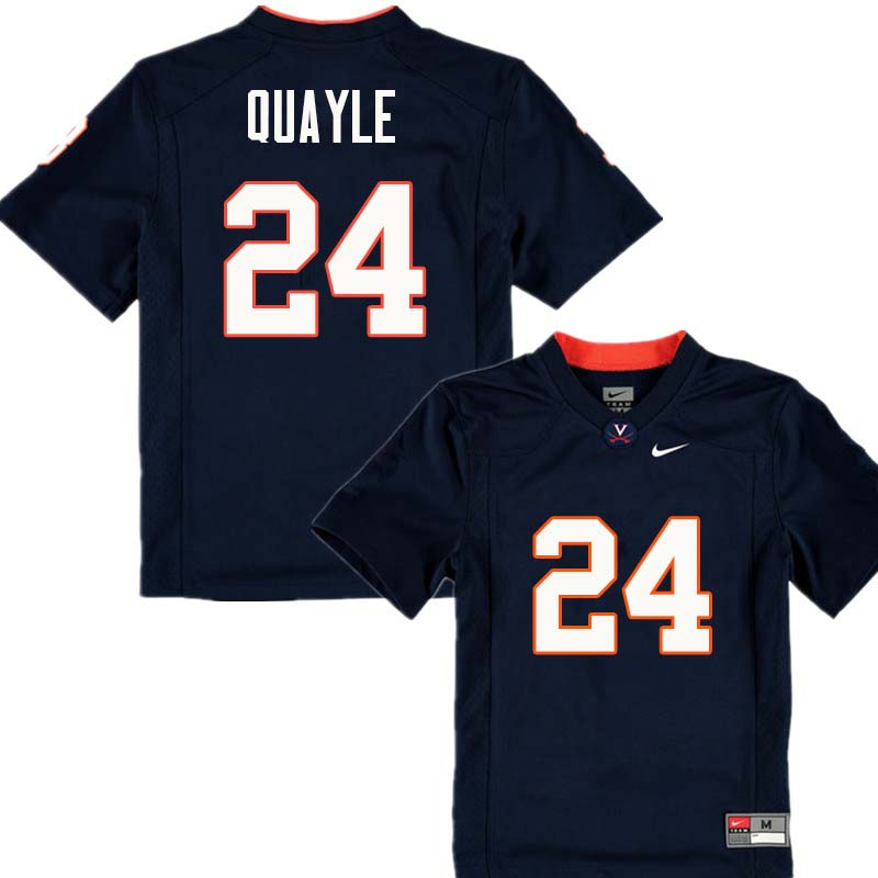 Men #24 Frank Quayle Virginia Cavaliers College Football Jerseys Sale-Navy