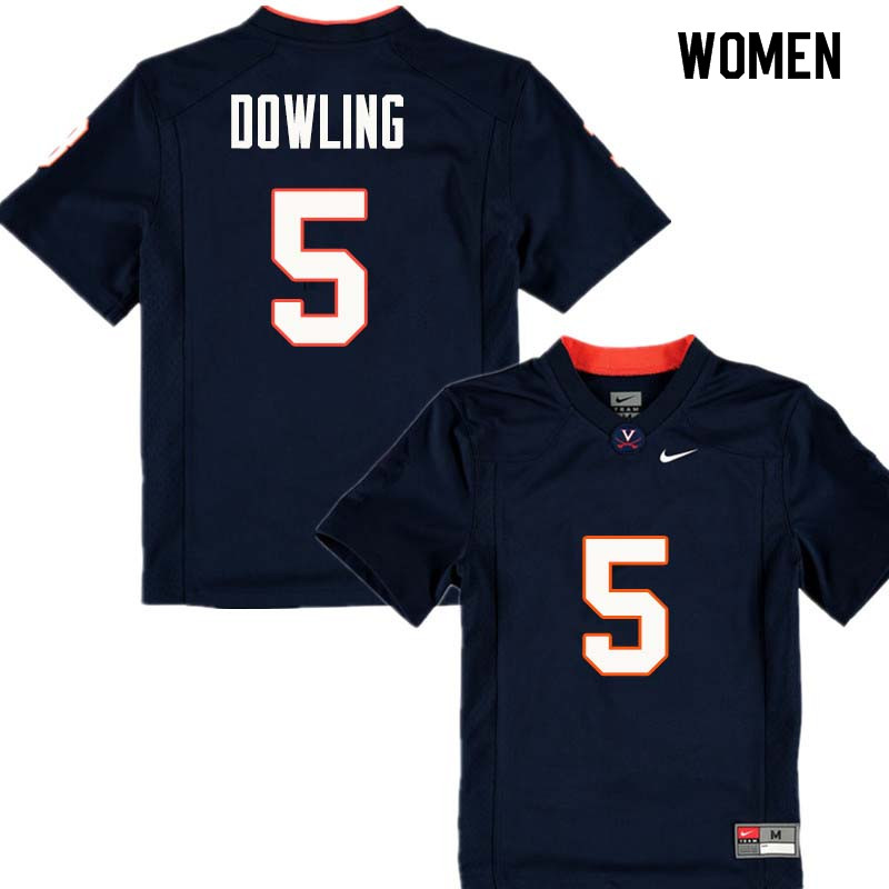 Women #5 Donovan Dowling Virginia Cavaliers College Football Jerseys Sale-Navy