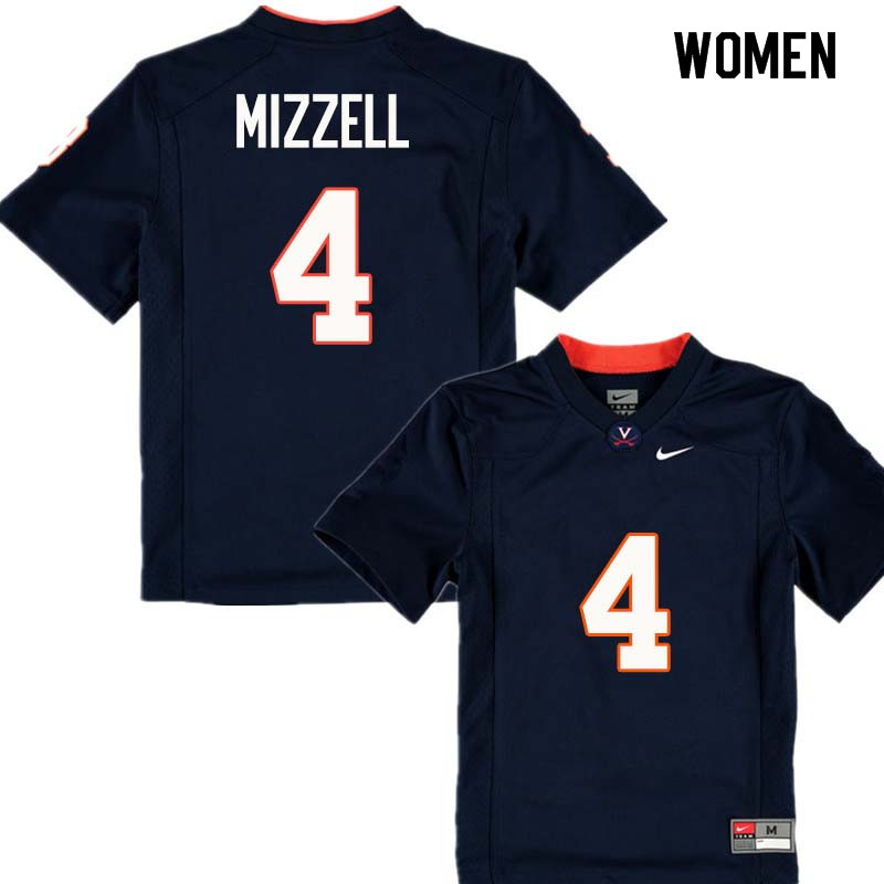 Women #4 Taquan Mizzell Virginia Cavaliers College Football Jerseys Sale-Navy
