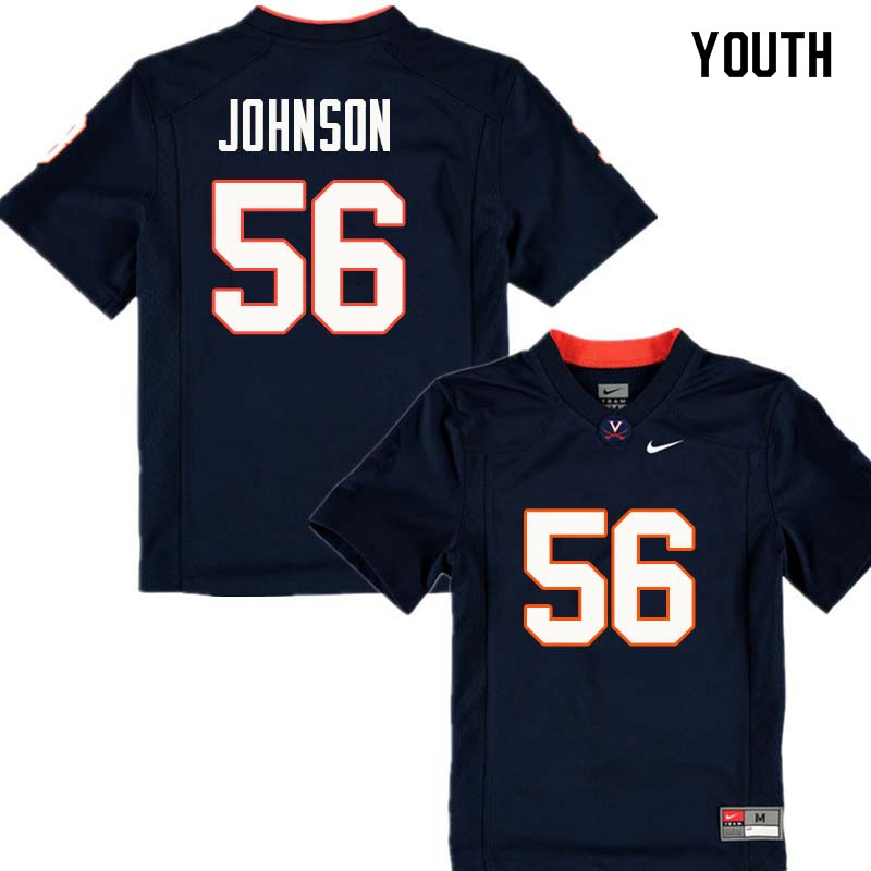 Youth #56 Cam Johnson Virginia Cavaliers College Football Jerseys Sale-Navy