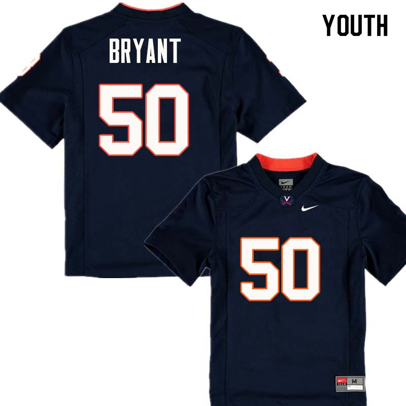 Youth #50 Dre Bryant Virginia Cavaliers College Football Jerseys Sale-Navy