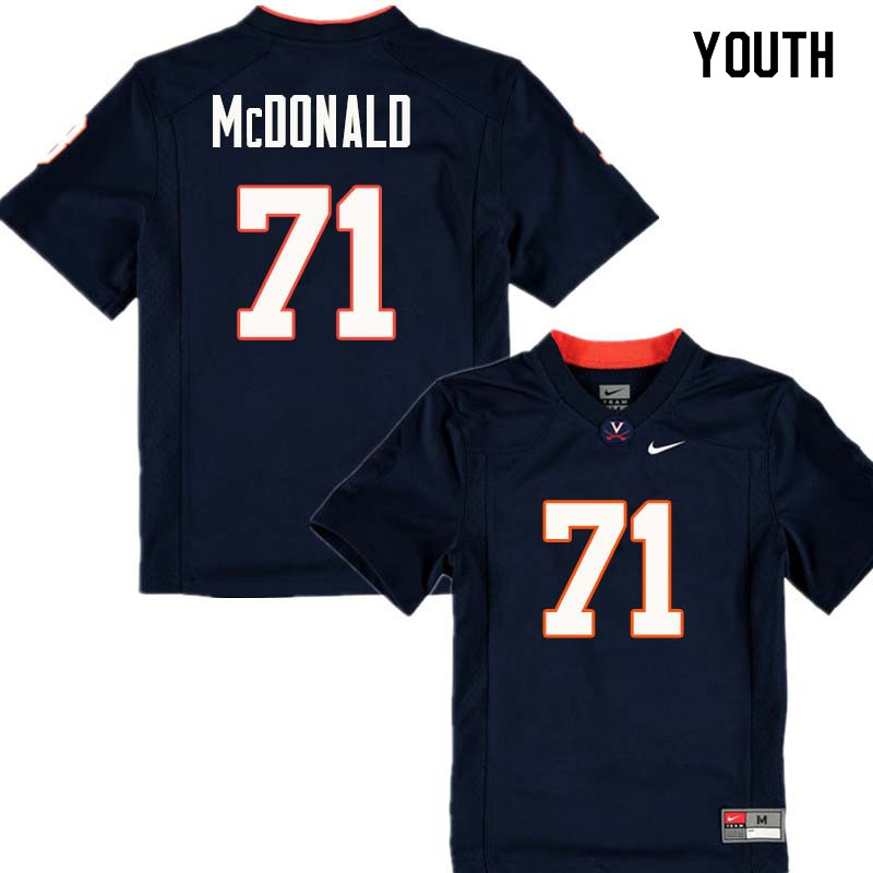 Youth #71 Jack McDonald Virginia Cavaliers College Football Jerseys Sale-Navy