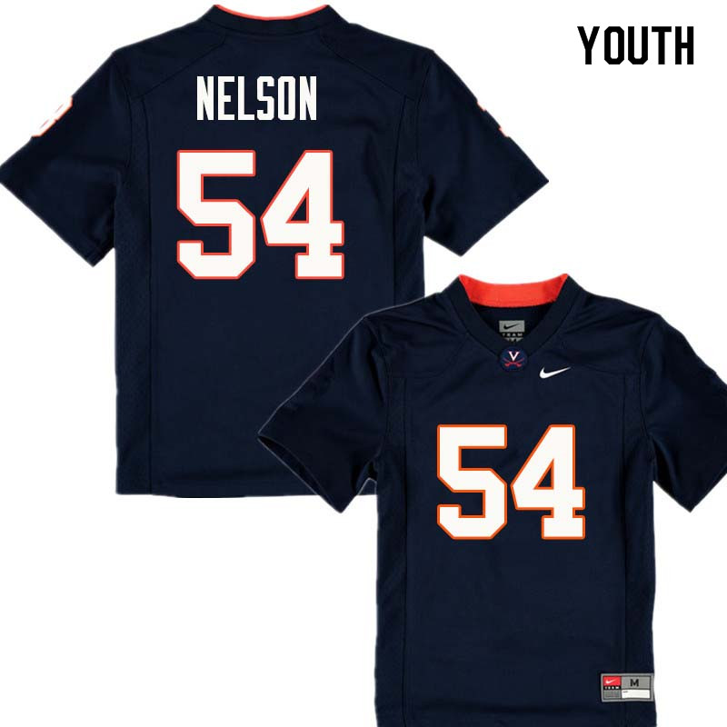 Youth #54 Ryan Nelson Virginia Cavaliers College Football Jerseys Sale-Navy