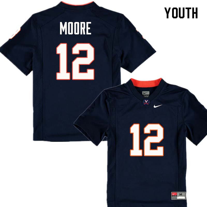 Youth #12 Shawn Moore Virginia Cavaliers College Football Jerseys Sale-Navy