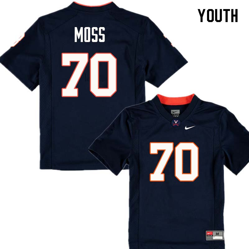 Youth #70 Steven Moss Virginia Cavaliers College Football Jerseys Sale-Navy